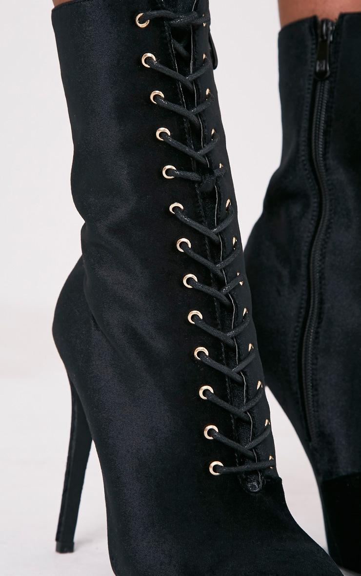 Savia Black Velvet Lace Up Heeled Boots 6