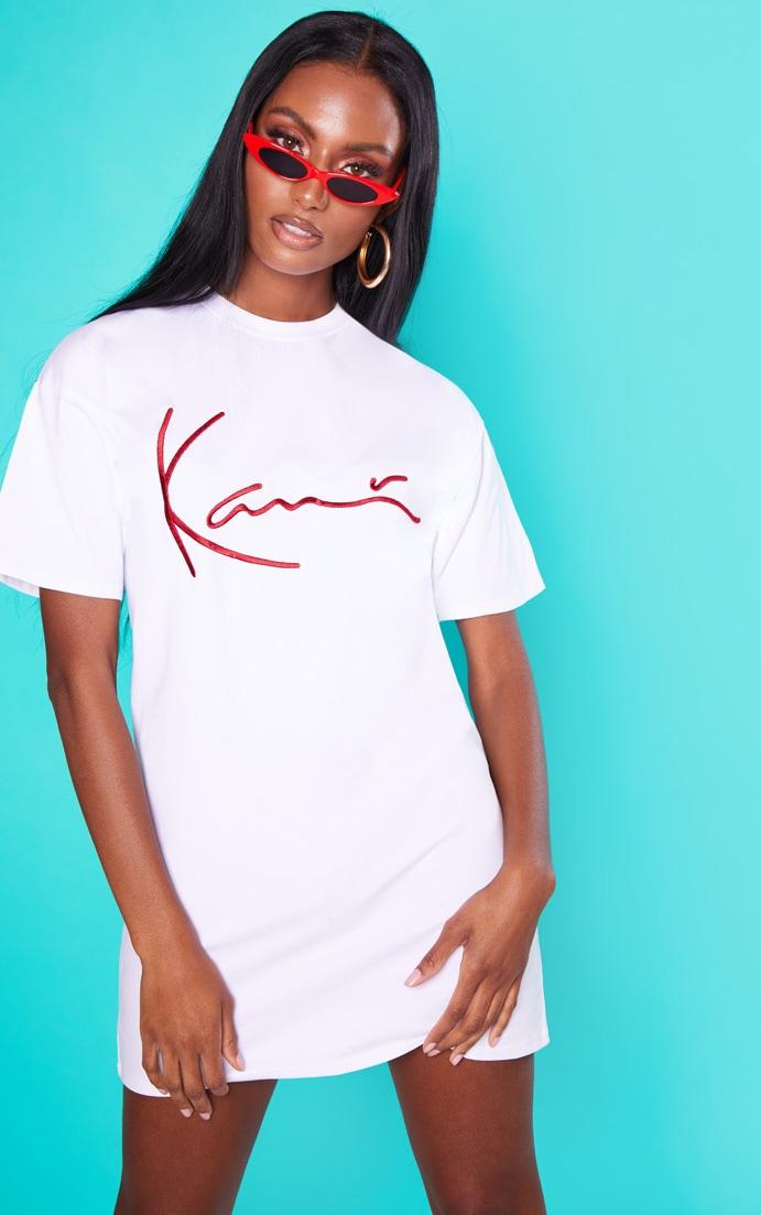 KARL KANI White Embroidered T Shirt Dress 1