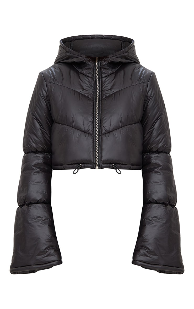Black Flared Sleeve Puffer Jacket 3