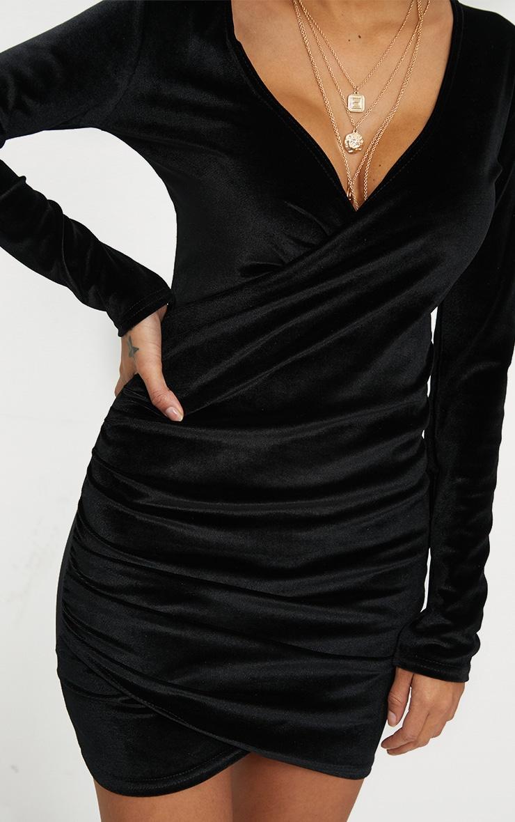 Black Wrap Plunge Ruched Detail Bodycon Dress 5