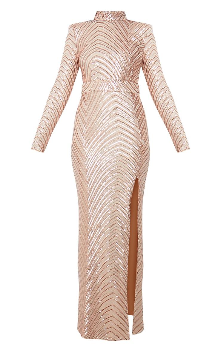 Robe longue en sequins or rose à motifs et col montant 5