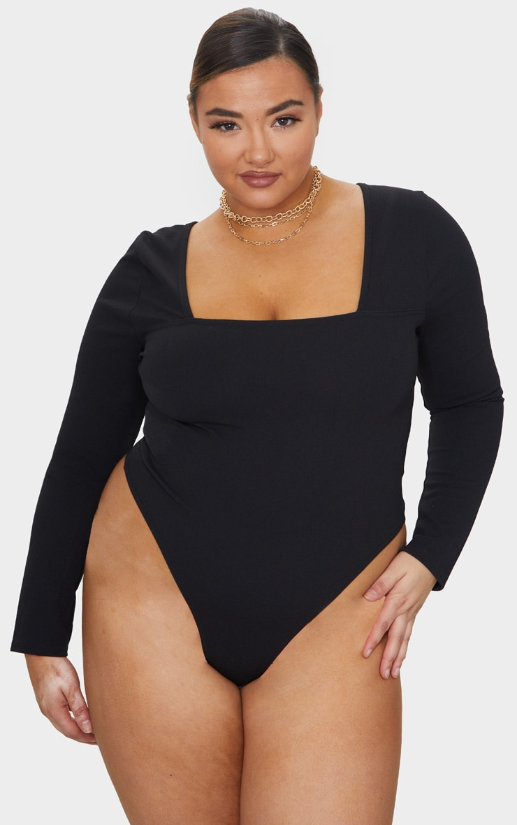 Plus Black Square Neck Long Sleeve Thong Bodysuit 2