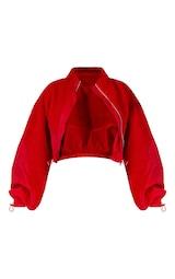 Red Borg Panel Nylon Crop Jacket 7