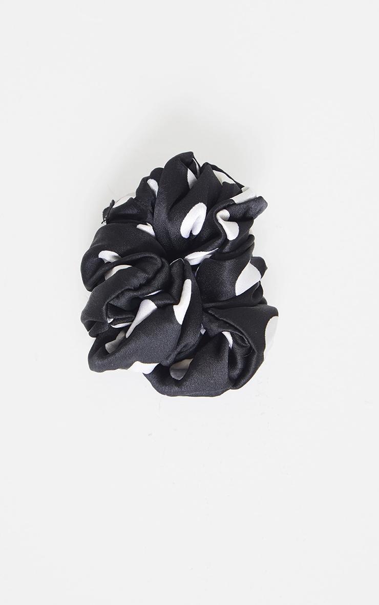 Black White Polka Dot Scrunchie 1