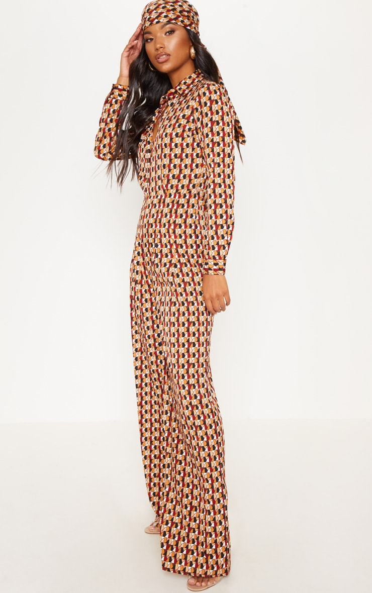 Rust Geo Oversized Wide Leg Jumpsuit 4