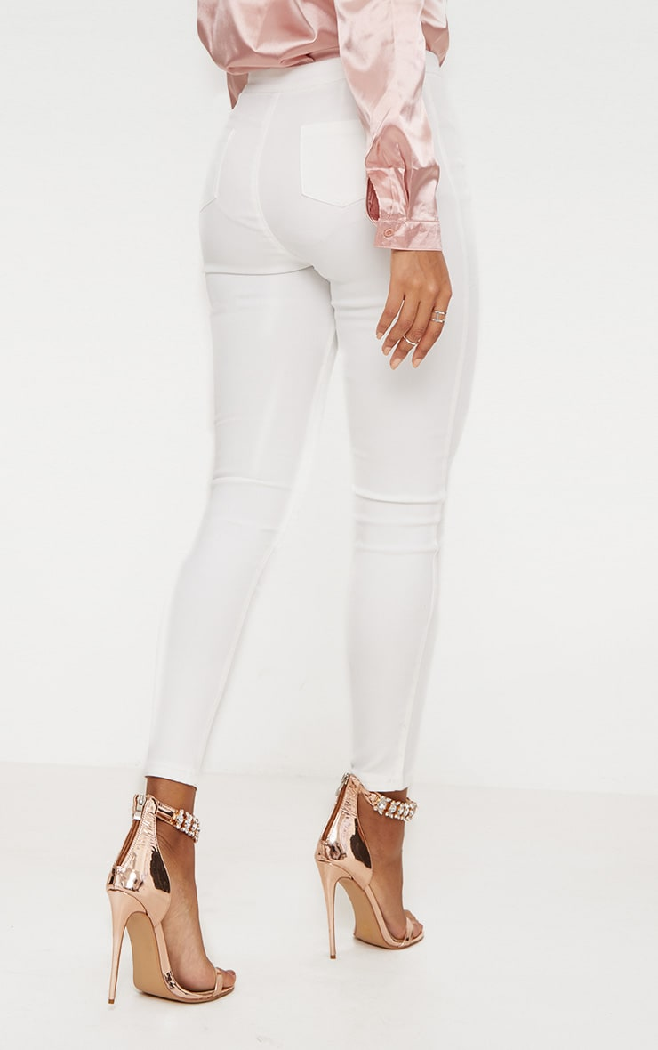 White Double Button Disco Skinny Jean 3