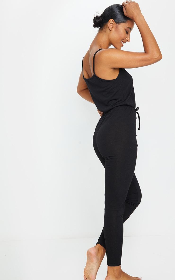 Black Strappy Tie Waist Lounge Jumpsuit 2