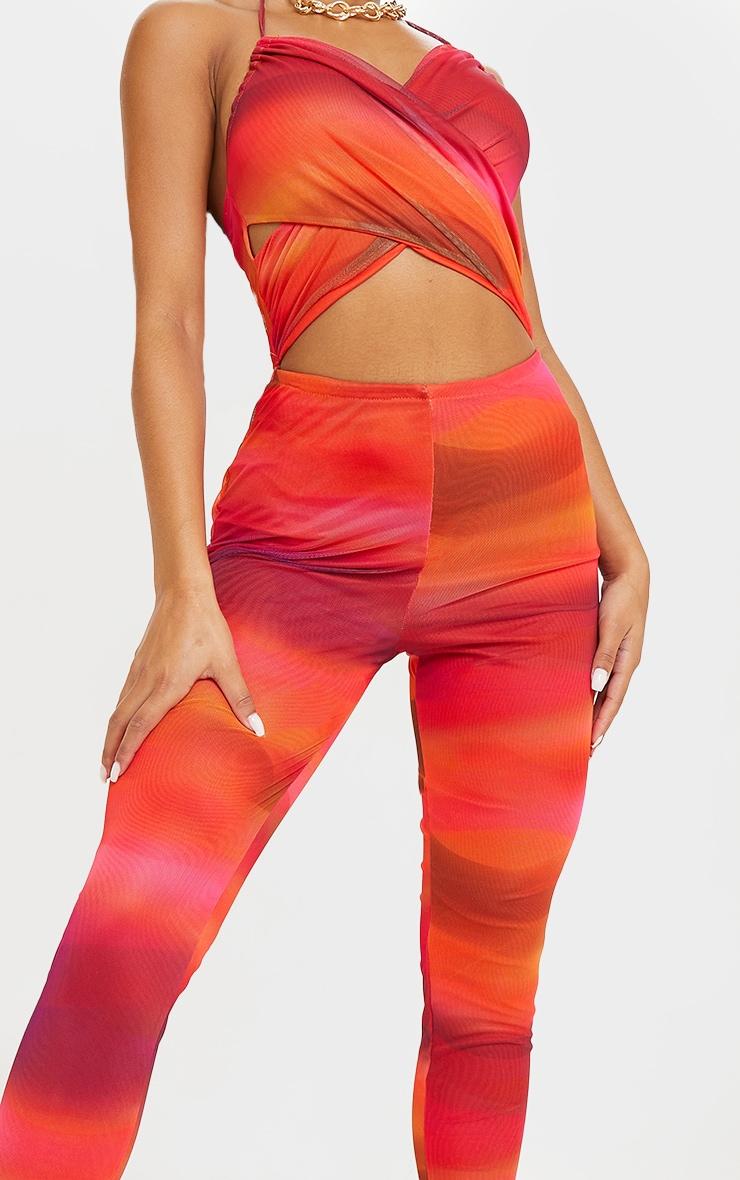 Orange Abstract Print Mesh Cross Front Halterneck Jumpsuit 4