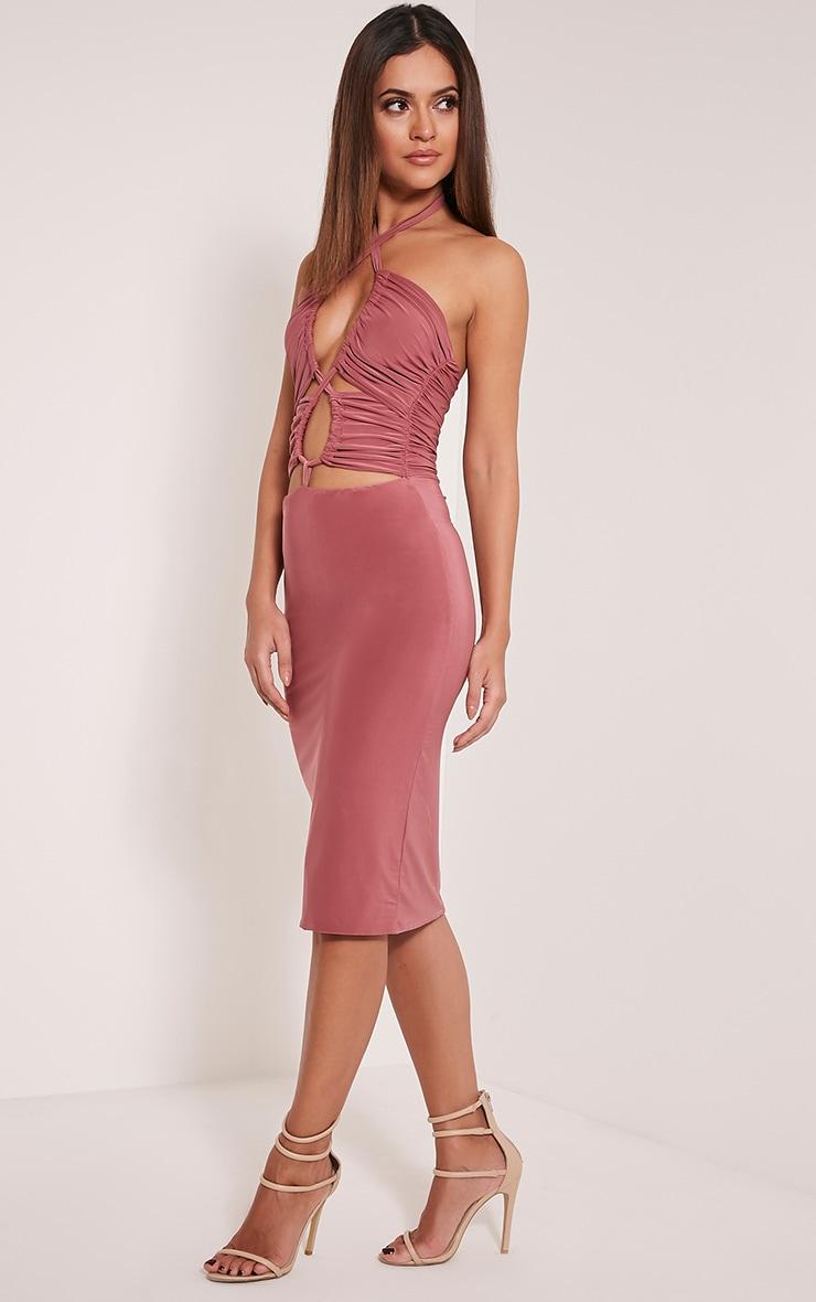 Meeka Rose Ruched Halterneck Cut Out Midi Dress 4