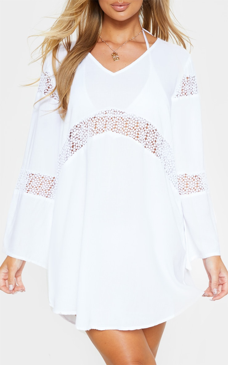 White Oversized Crochet Trim Beach Tunic 5