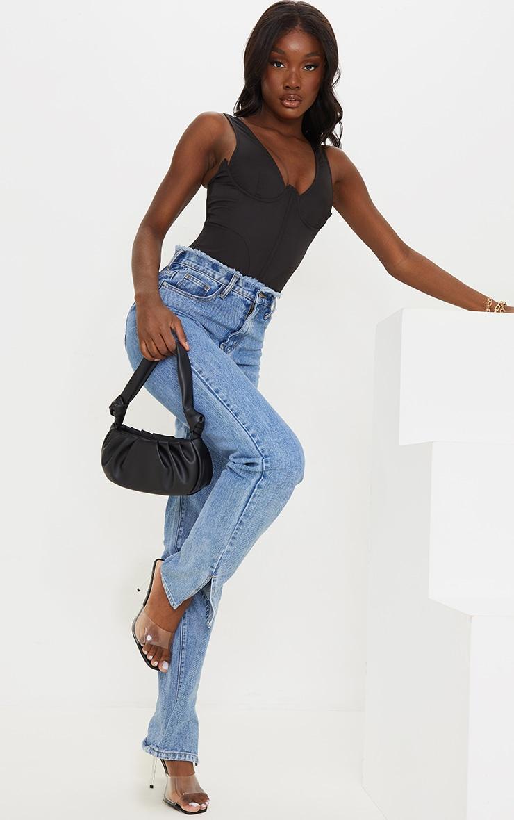 Tall Black Corset Detail Woven Bodysuit  3