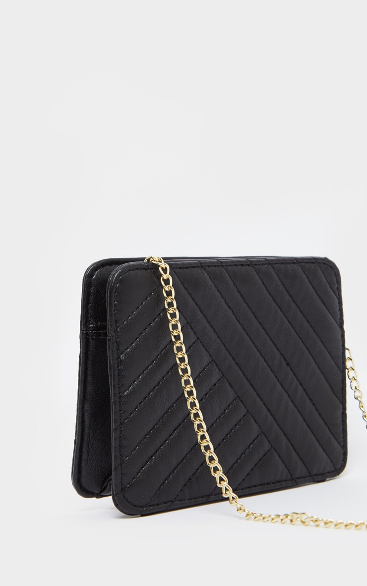 Black PU Small Chevron Cross Body Bag 2