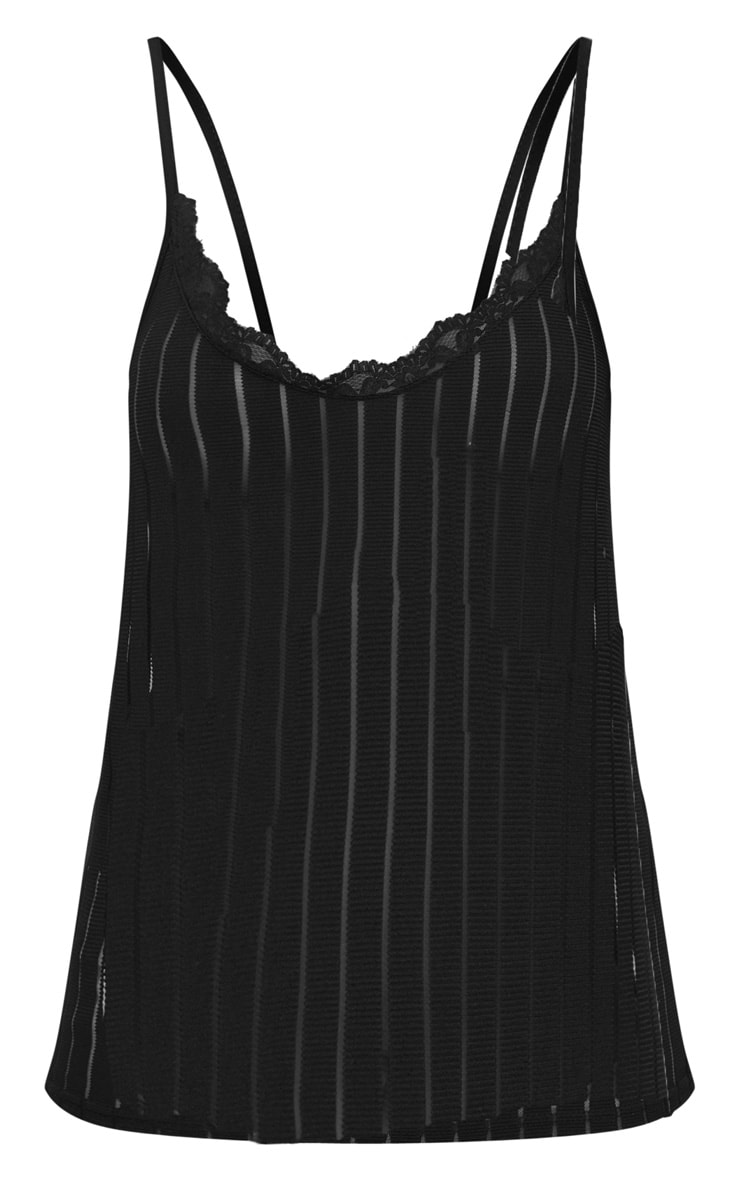Black Lace Trim Mesh Stripe Cami Top  3