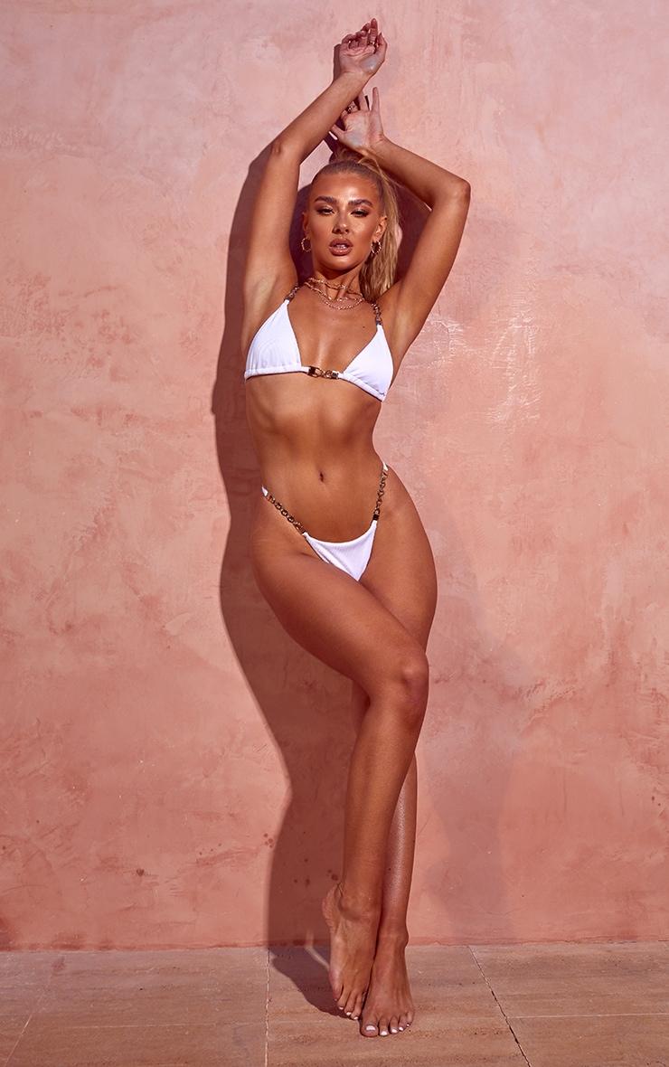 Bas de bikini blanc à bordure chaîne 1