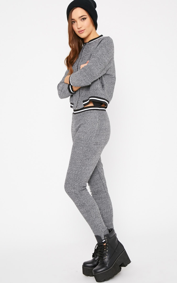 Hollie Grey Boucle Sporty Knitted Bomber 3