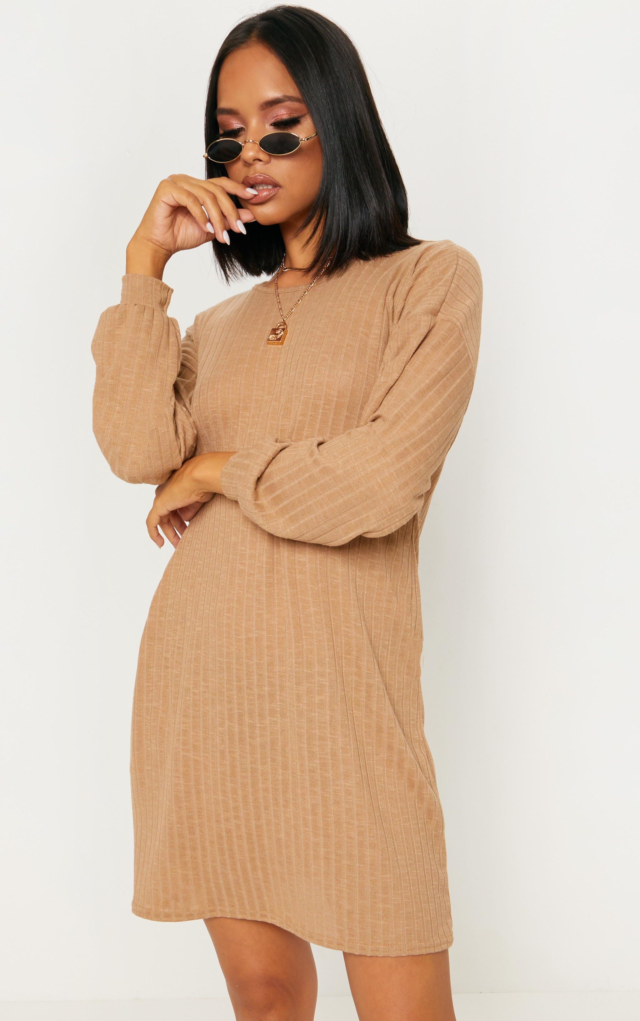 Camel Wide Ribbed Oversized Jumper Dress 1