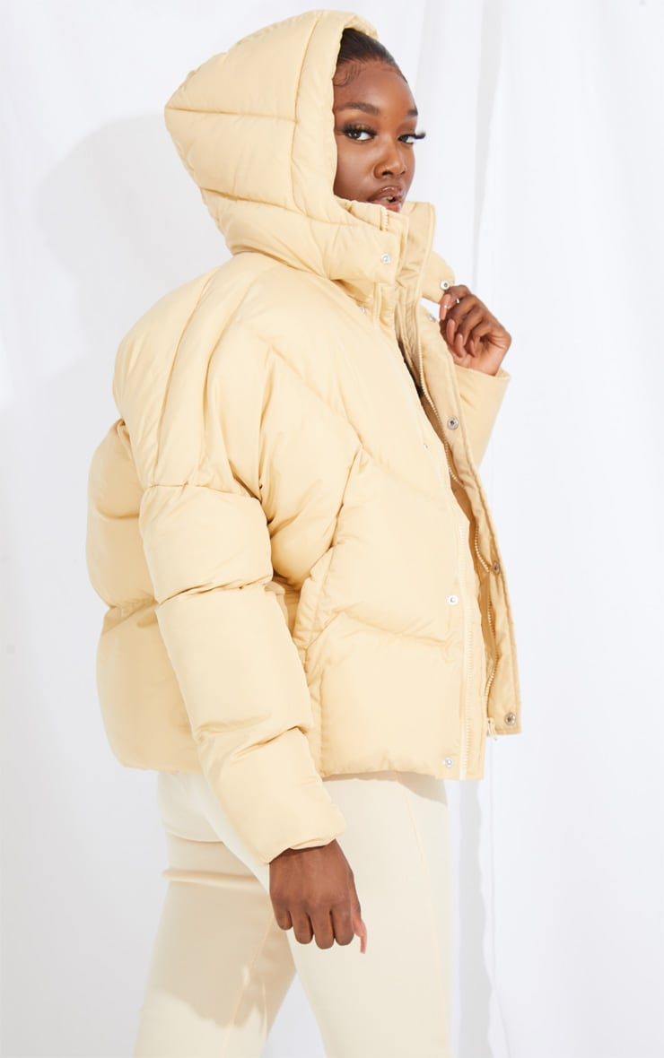 Tall Stone Nylon Oversized Curved Panel Wadded Puffer Jacket 2
