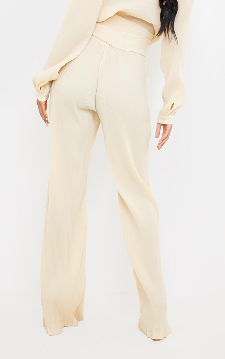 Tall  Cream Plisse Highwaisted Wide Leg Trousers 3