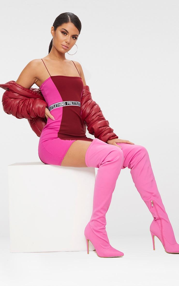 PRETTYLITTLETHING Burgundy Straight Neck Bodycon Dress  4