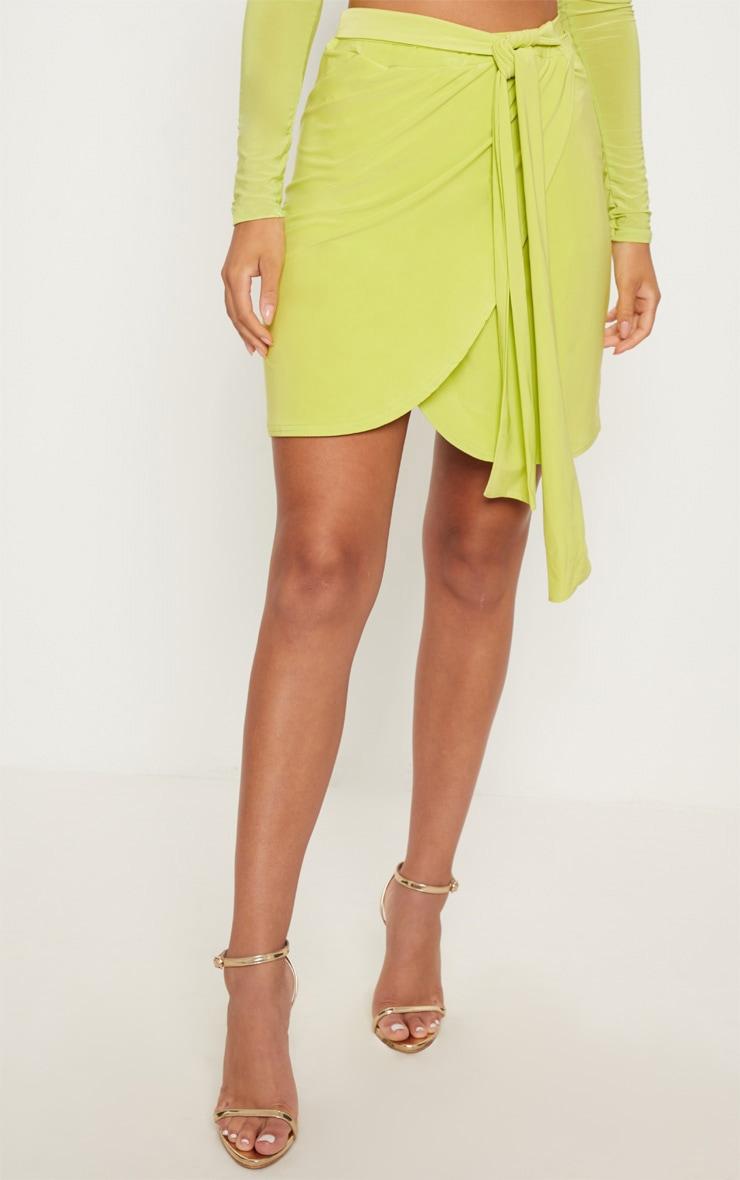 Lime Slinky Tie Waist Wrap Skirt 2