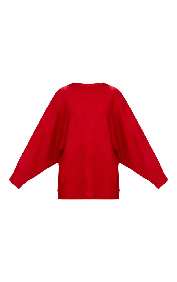 Red Oversized Knitted Sweater 3