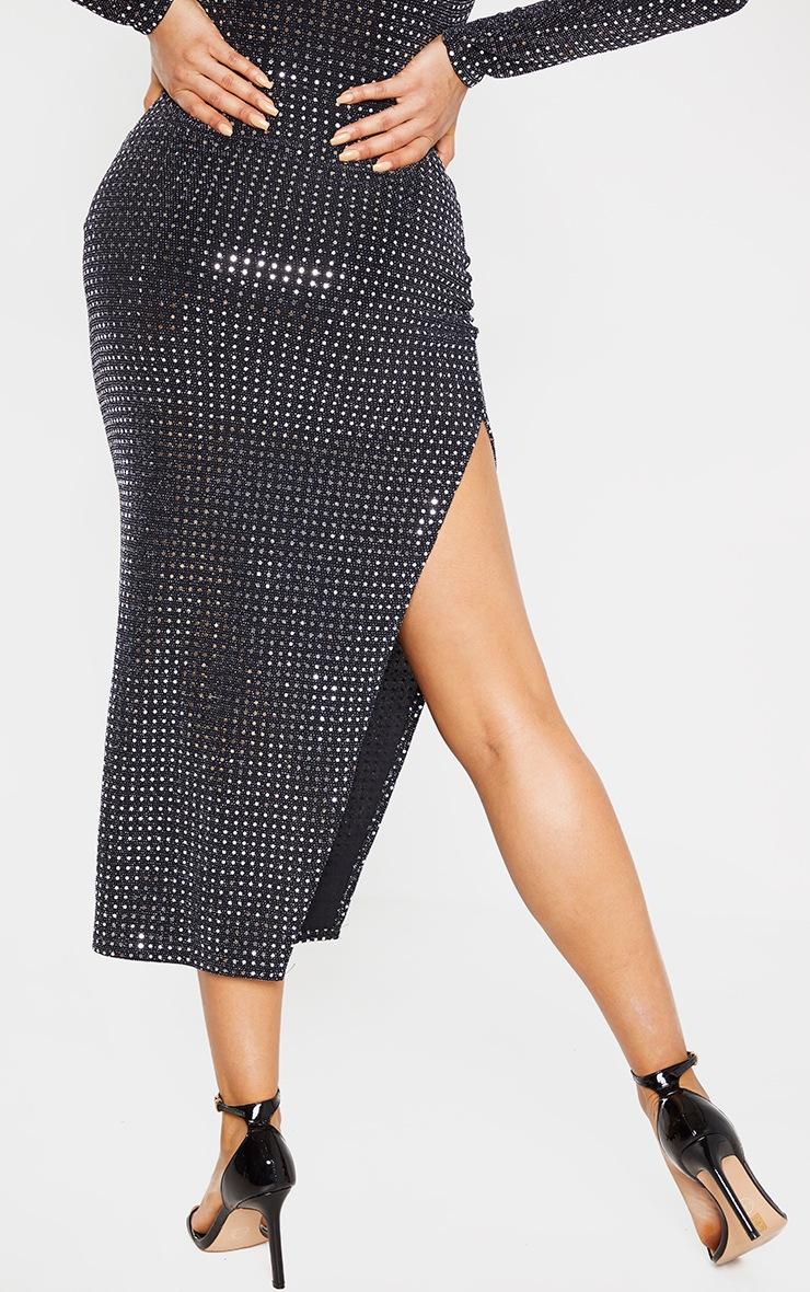 Tall Black Sequin Split Side Skirt  4