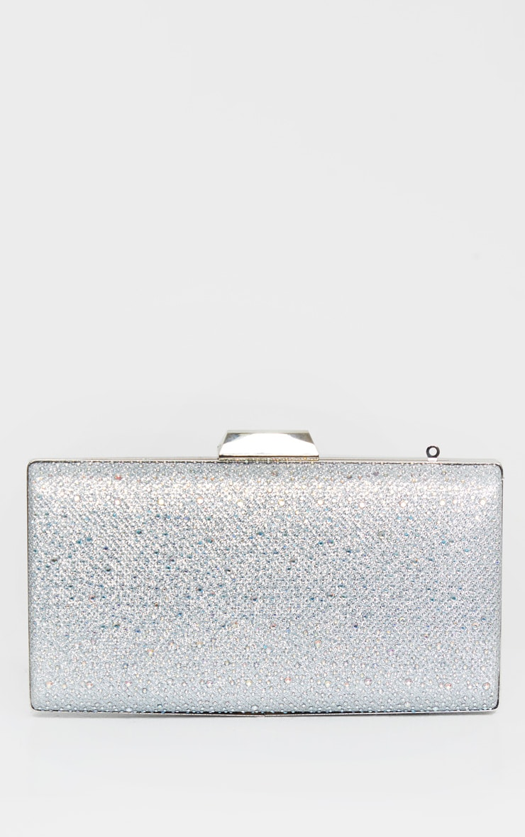 Silver Glitter Metal Frame Clutch Bag 2