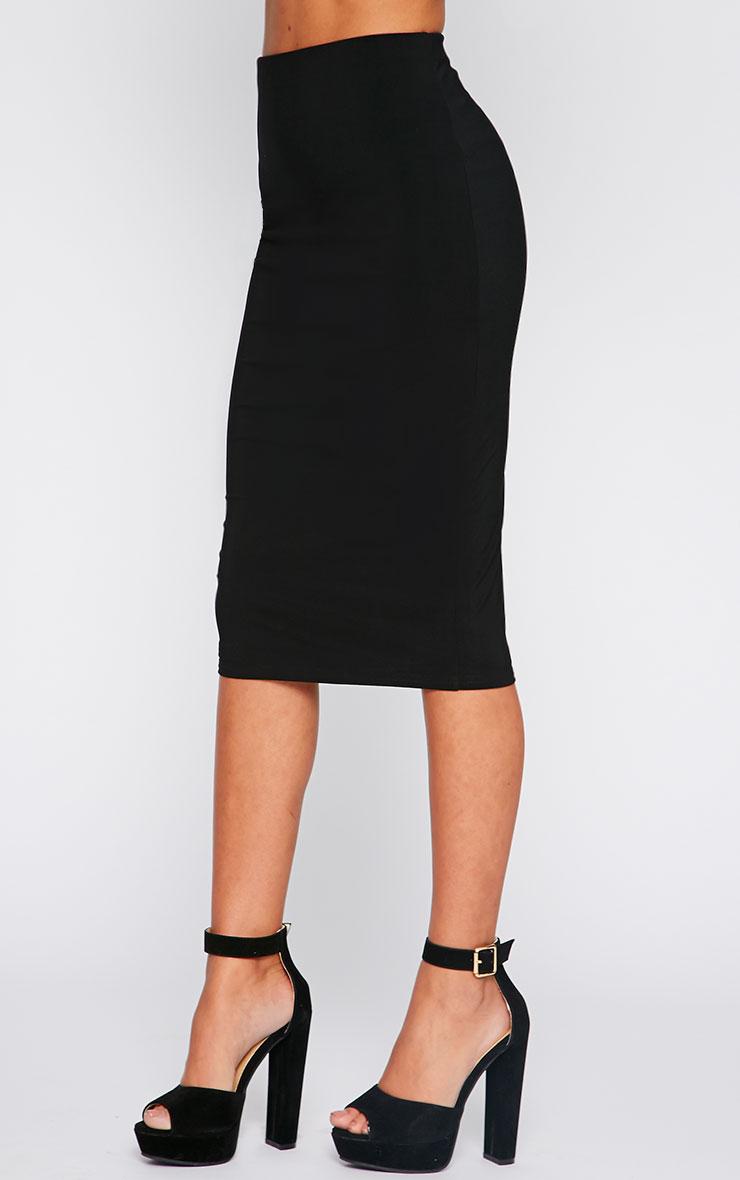 Bessie Black Slinky Midi Skirt  3