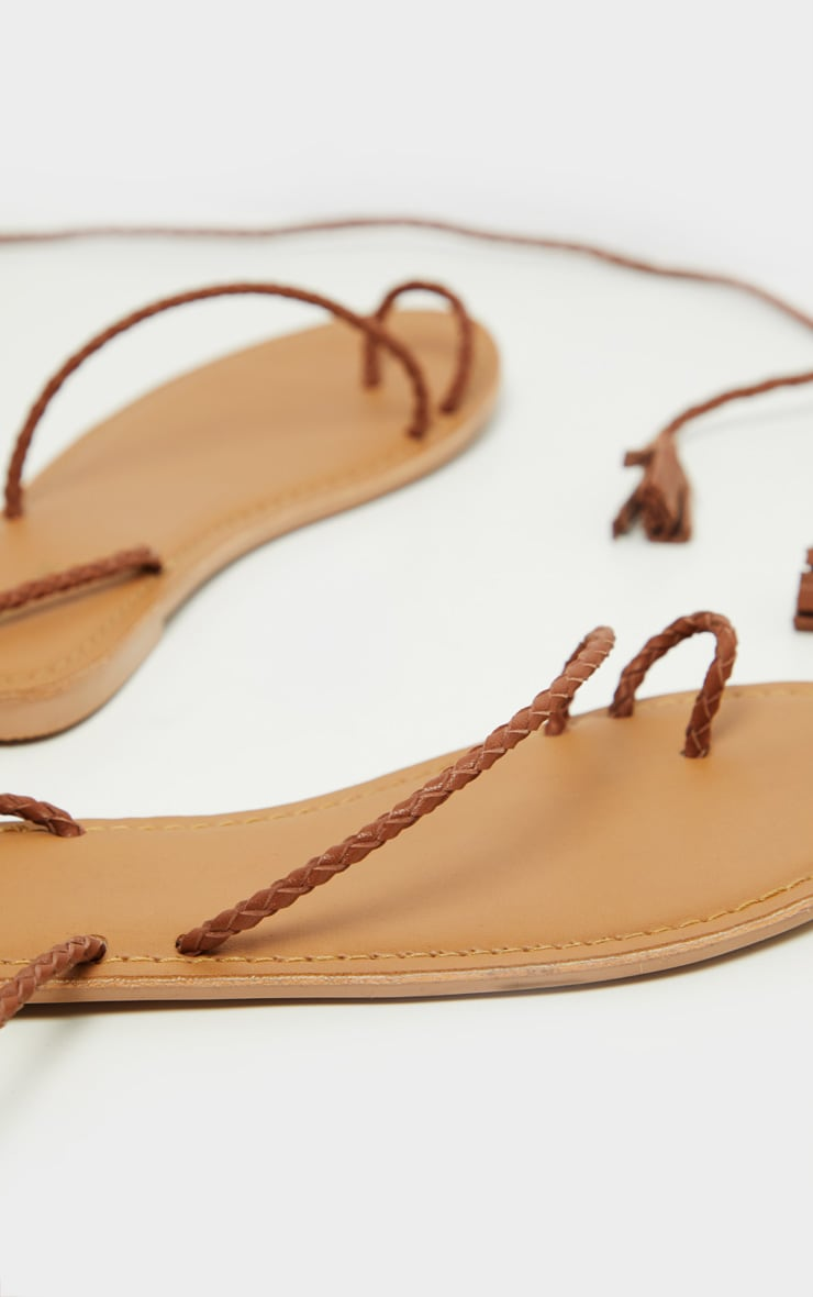 Tan Leather Plaited Rope Sandal 5