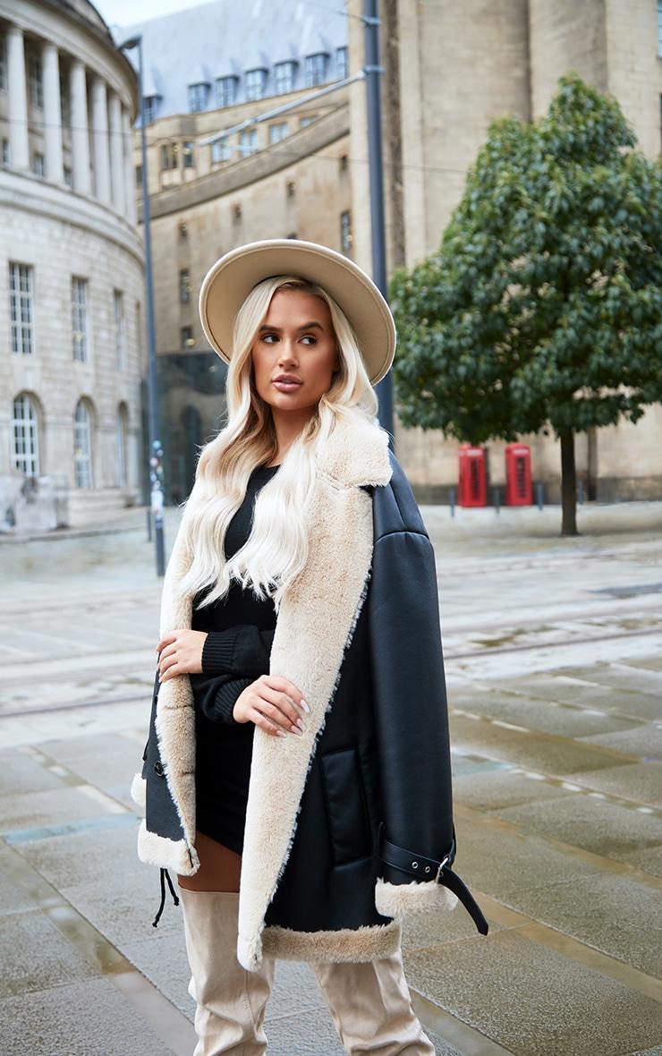 Black PU Faux Fur Trim Vintage Style Coat