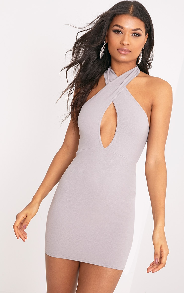 Wendina Dove Grey Cross Front Crepe Bodycon Dress 1