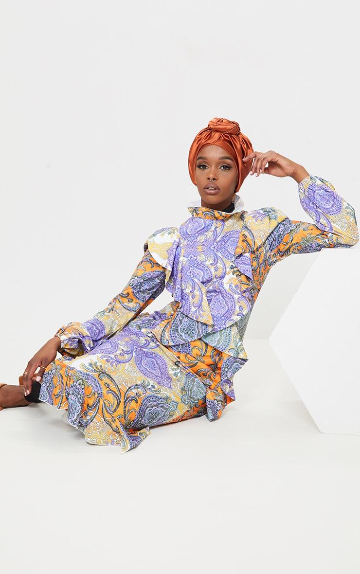 Multi Paisley Printed Frill High Neck Midi Dress 3