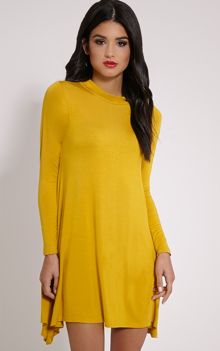 Basic Mustard Long Sleeved Jersey Swing Dress 1