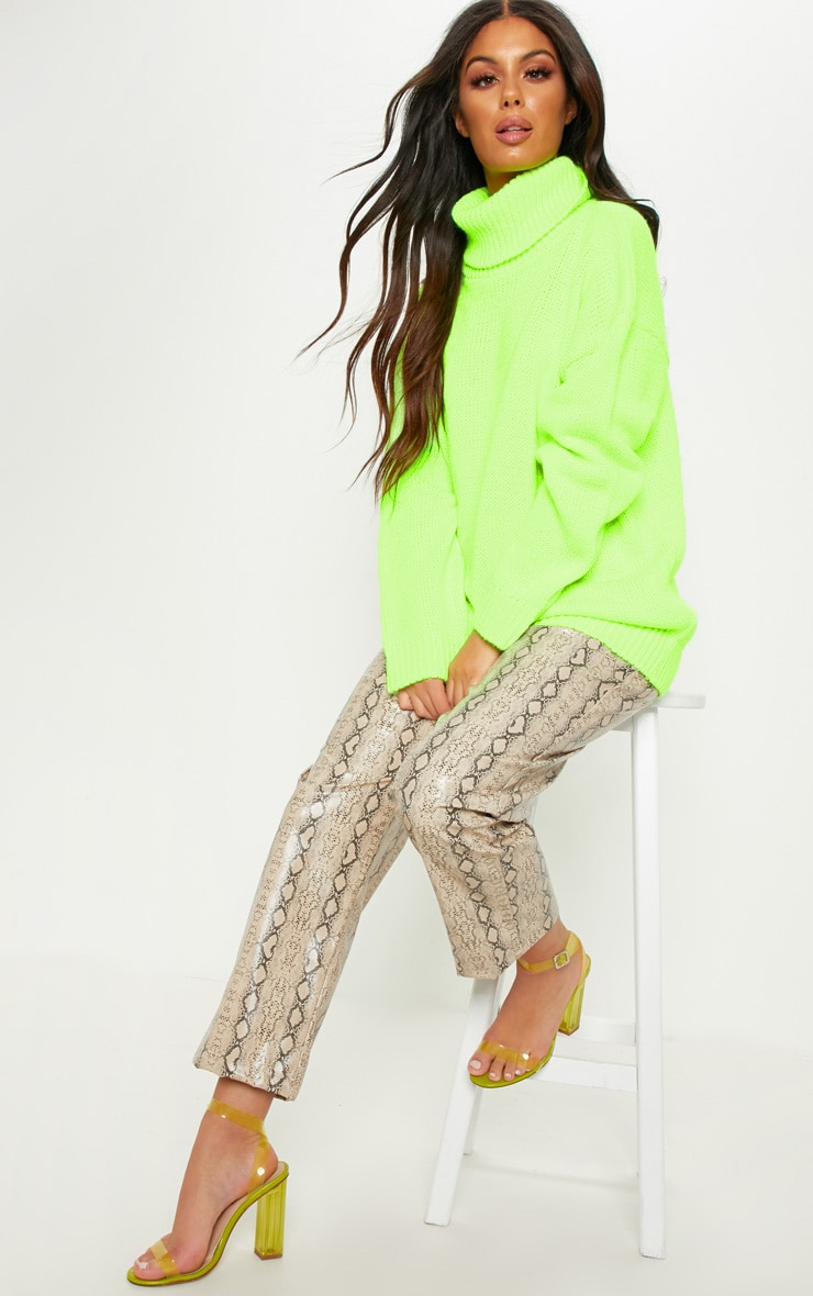 Lime High Neck Fluffy Knit Sweater  1
