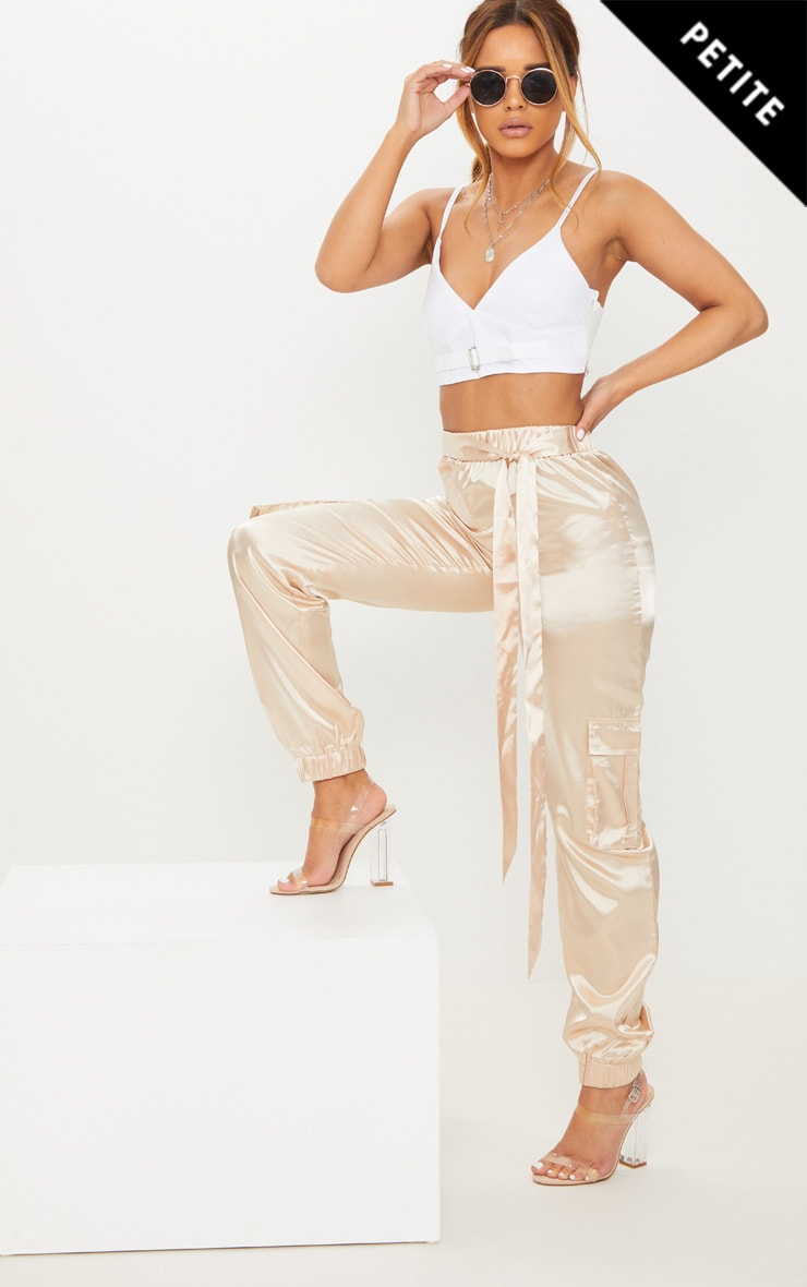 Petite Champagne Satin Cargo Trousers 1