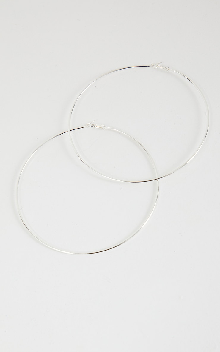 Silver 120mm Hoop Earrings 2