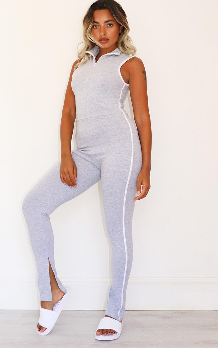 Petite Grey Zip Detail Sports Stripe Sleevless Jumpsuit 1