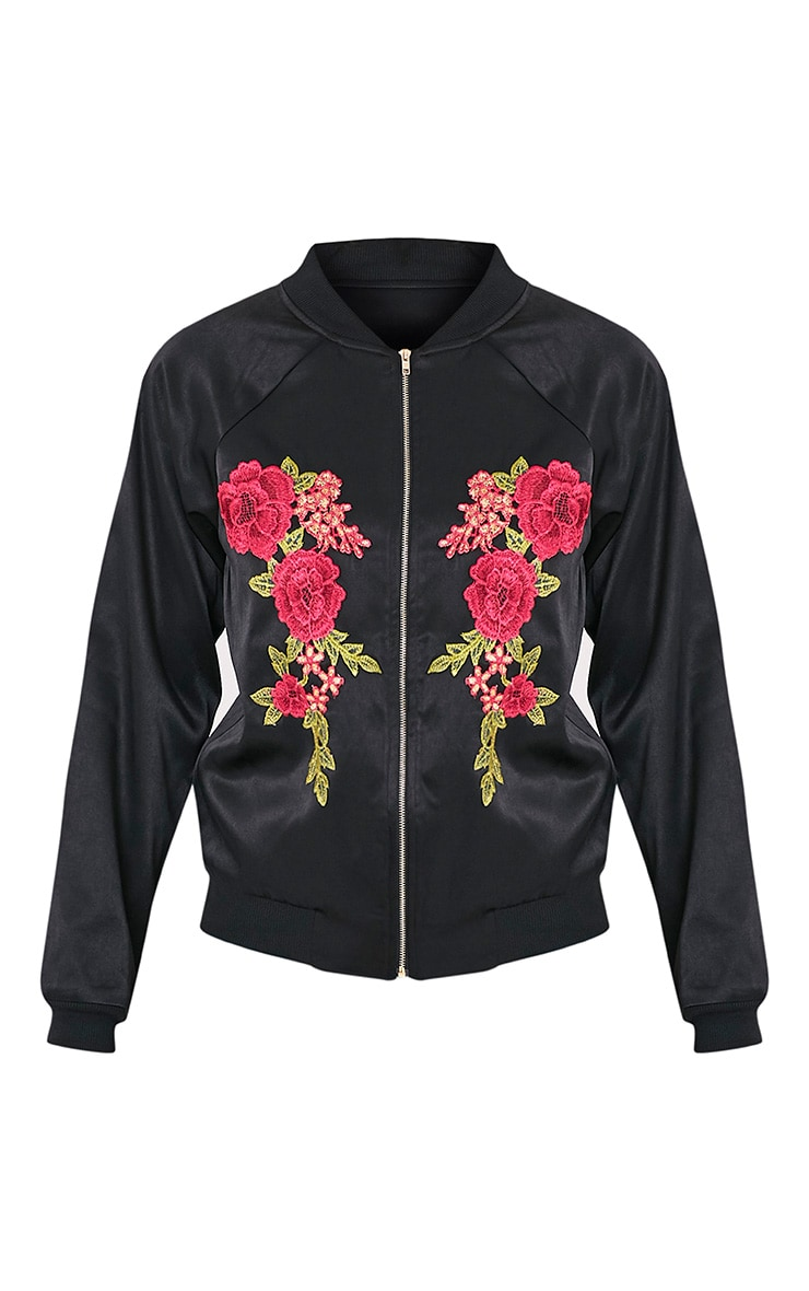 Challah Black Satin Applique Bomber Jacket 3