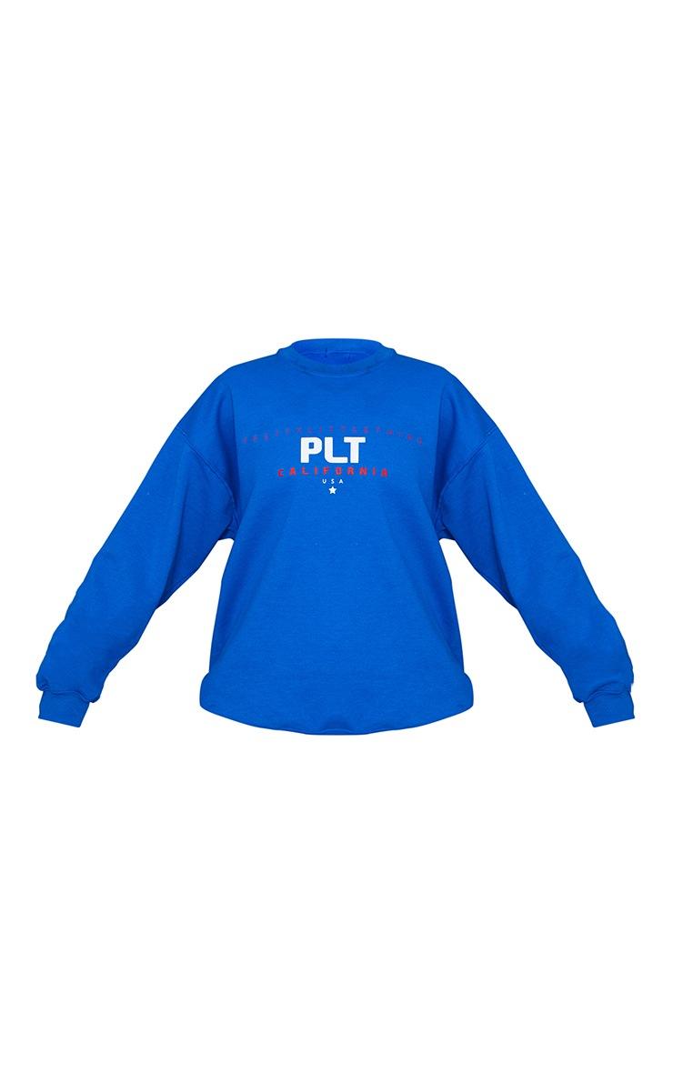 PRETTYLITTLETHING Cobalt Sport Print Sweatshirt 5