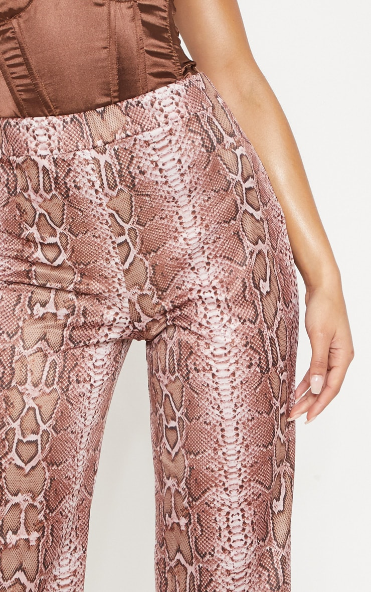 Camel Snake Printed Wide Leg Trouser 5
