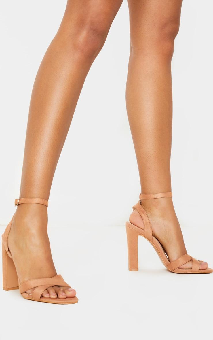 Nude Cross Strap Block Heel Sandal 3