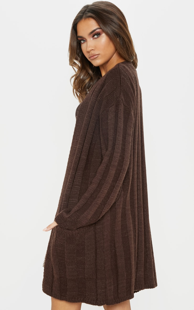 Chocolate Chunky Ribbed Laguna Knit Cardigan  2