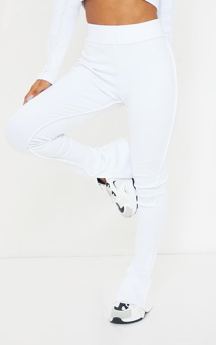 >White Structured Rib Stitch Detail Split Hem Flared Pants 2