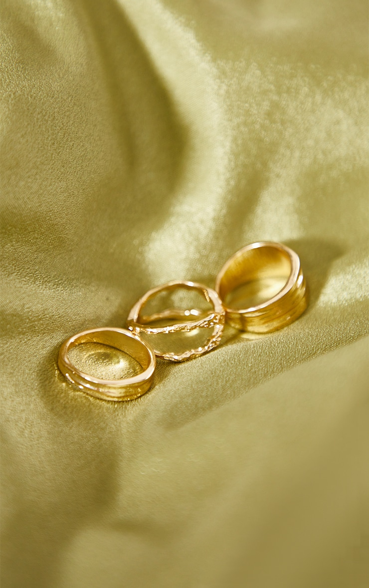 Gold Hammered Assorted 3 Pack Rings 2