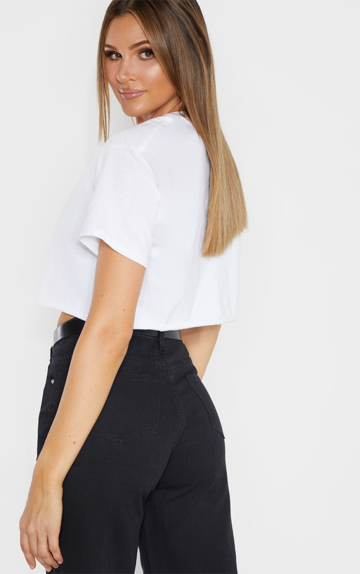 PRETTYLITTLETHING Tall White Slogan Cropped T-Shirt 2