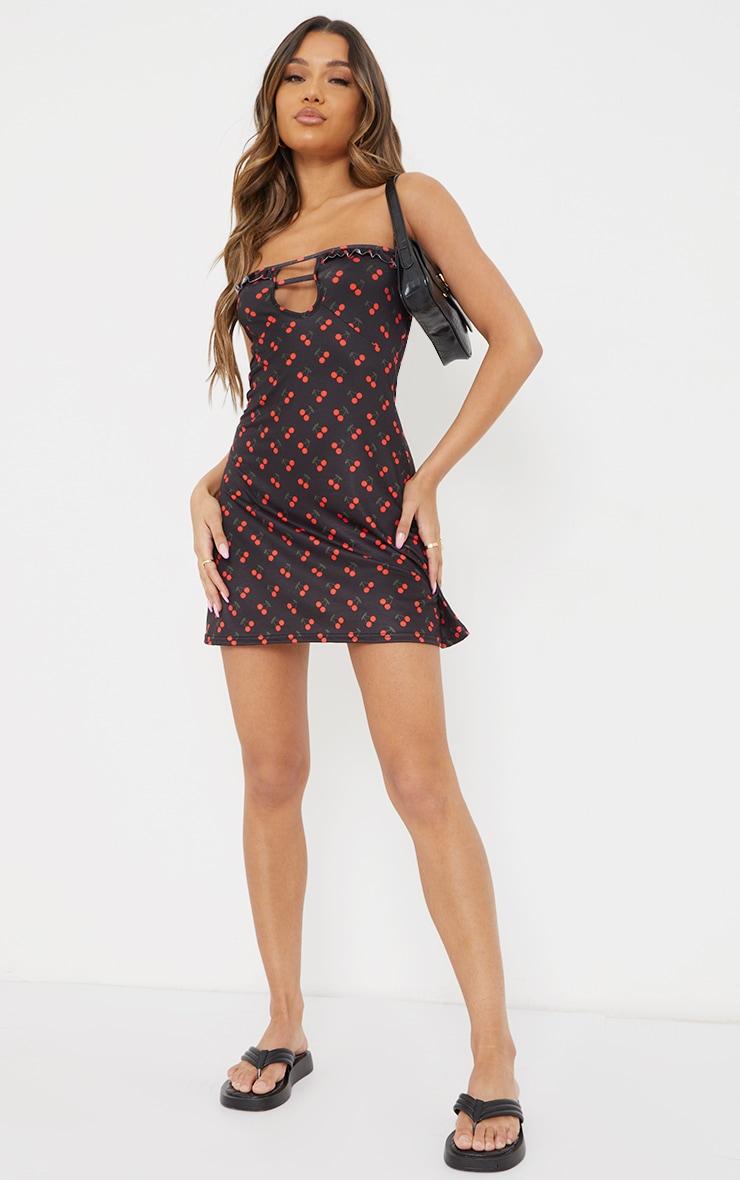 Black Cherry Print Contrast Frill Strappy Shift Dress 3