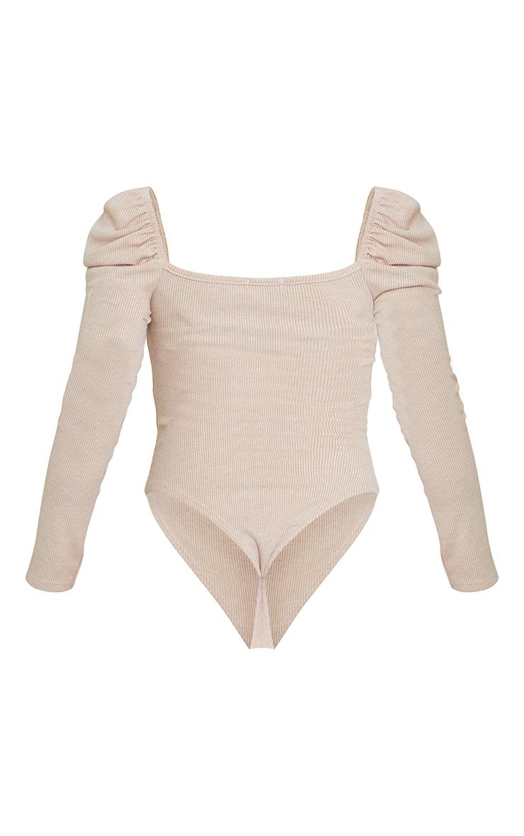 Beige Marl Rib Puff Long Sleeve Bodysuit 6