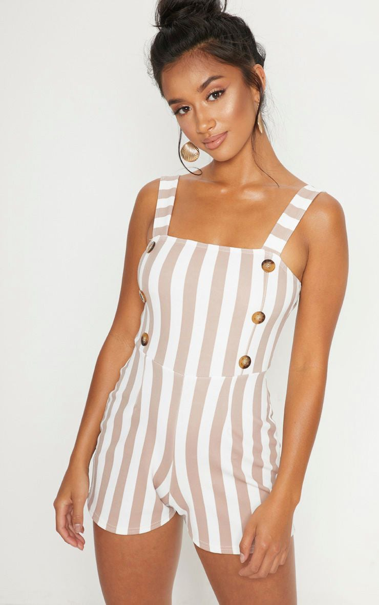 Petite Stone Button Detail Striped Playsuit 1