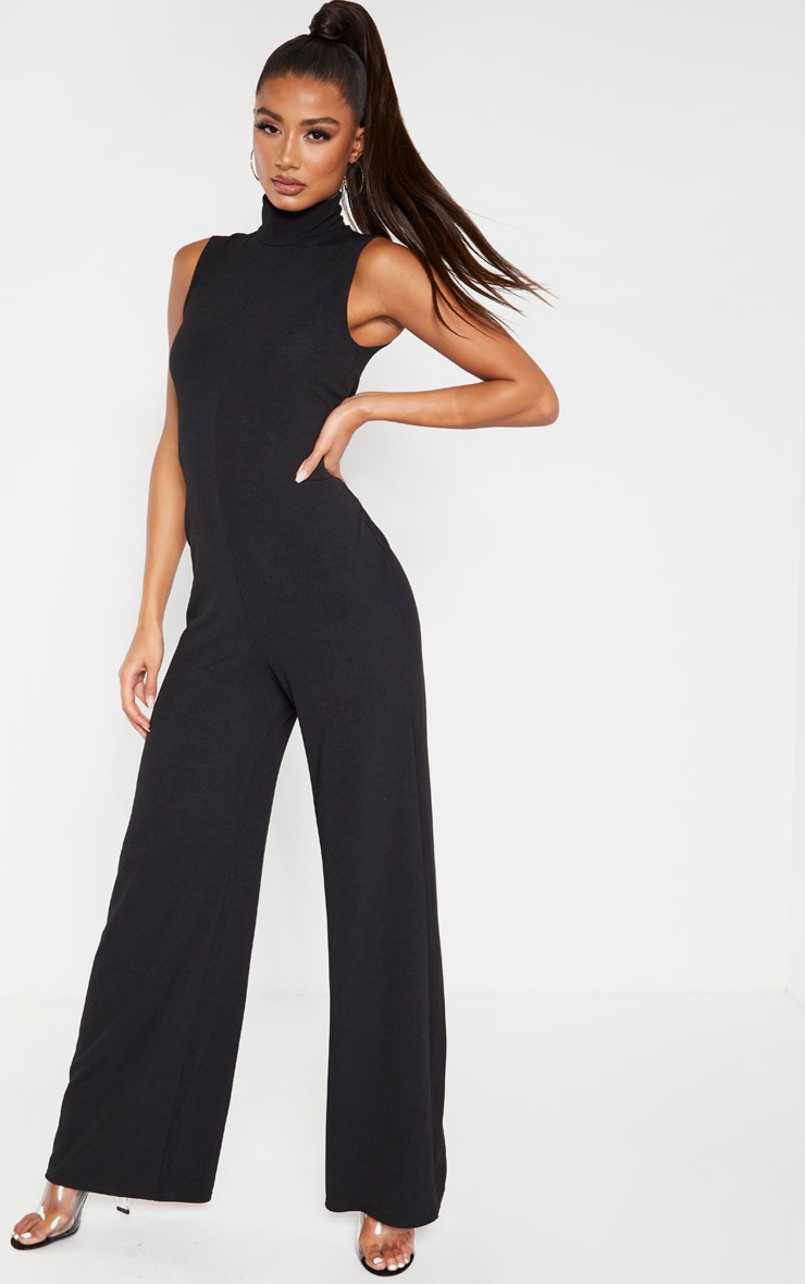 Black High Neck Wide Leg Rib Jumpsuit 1