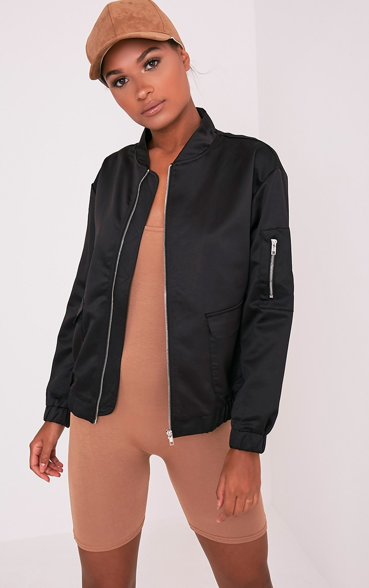 Daliya Black Satin Bomber Jacket 1